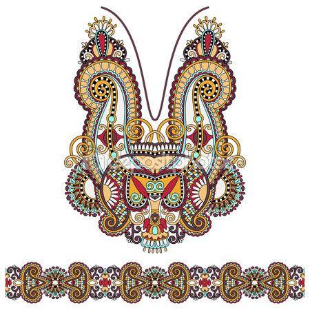 diseño de moda escote adornado bordado floral de paisley, ukrain — Ilustración de stock #55747707