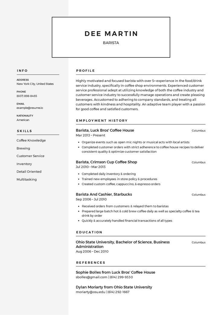 Barista Resume templates 2020 (Free Download) · Resume.io