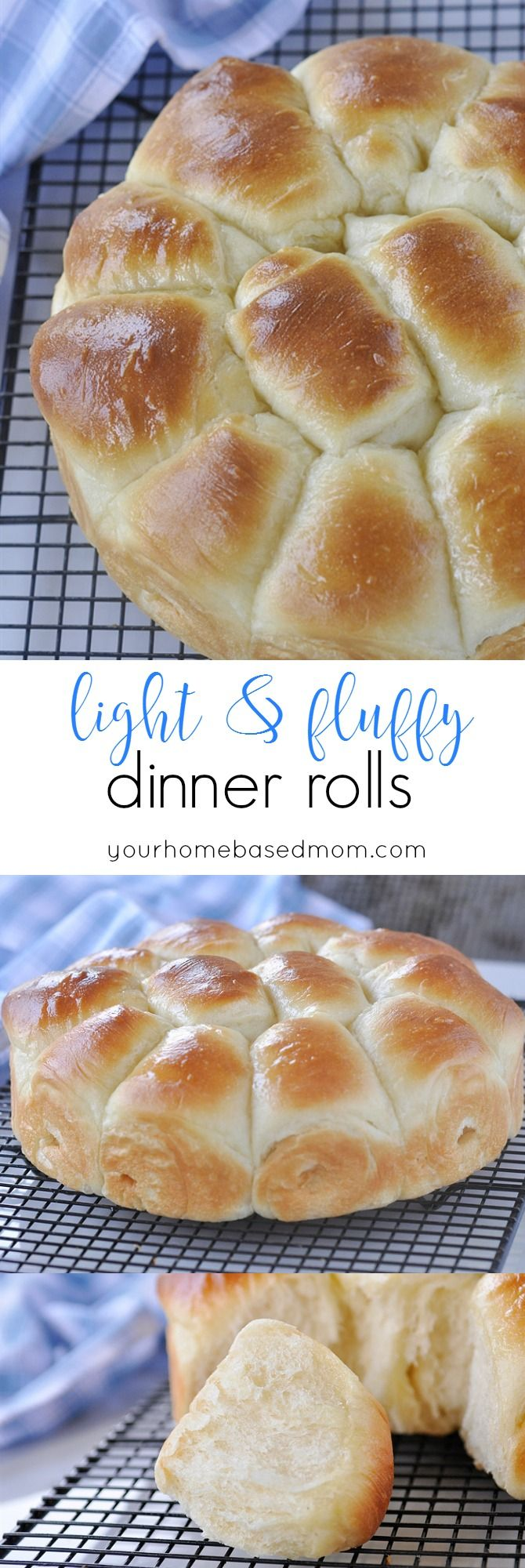Light & Fluffy Dinner Rolls - amazingly light and delicious @yourhomebasedmom.com
