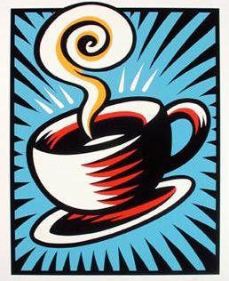 Artist: Burton Morris, Title: Coffee Cup State 1 Blue