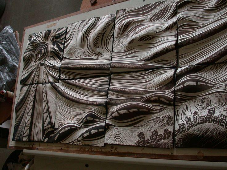 55 best ceramic art images on pinterest ceramic art for Ceramic wall mural