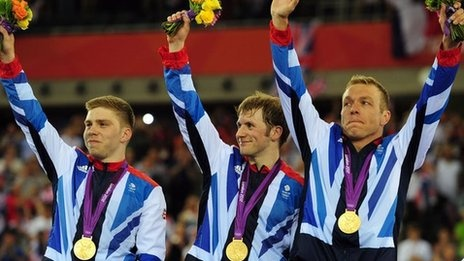 Team GB - Men's Team Sprint Gold in the Velodrome on 2 August 2012. Gold number 6 for Hoy!