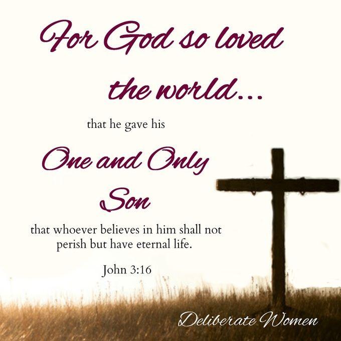 Giovanni 3:16 16 Dio infatti ha tanto amato il mondo da dare il suo Figlio unigenito, perché chiunque crede in lui non muoia, ma abbia la vita eterna.