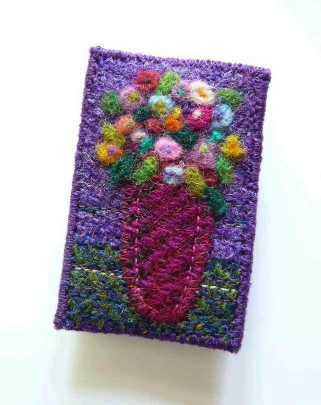 Harris Tweed, fibre art, felted, Old Masters flower brooch £14.00