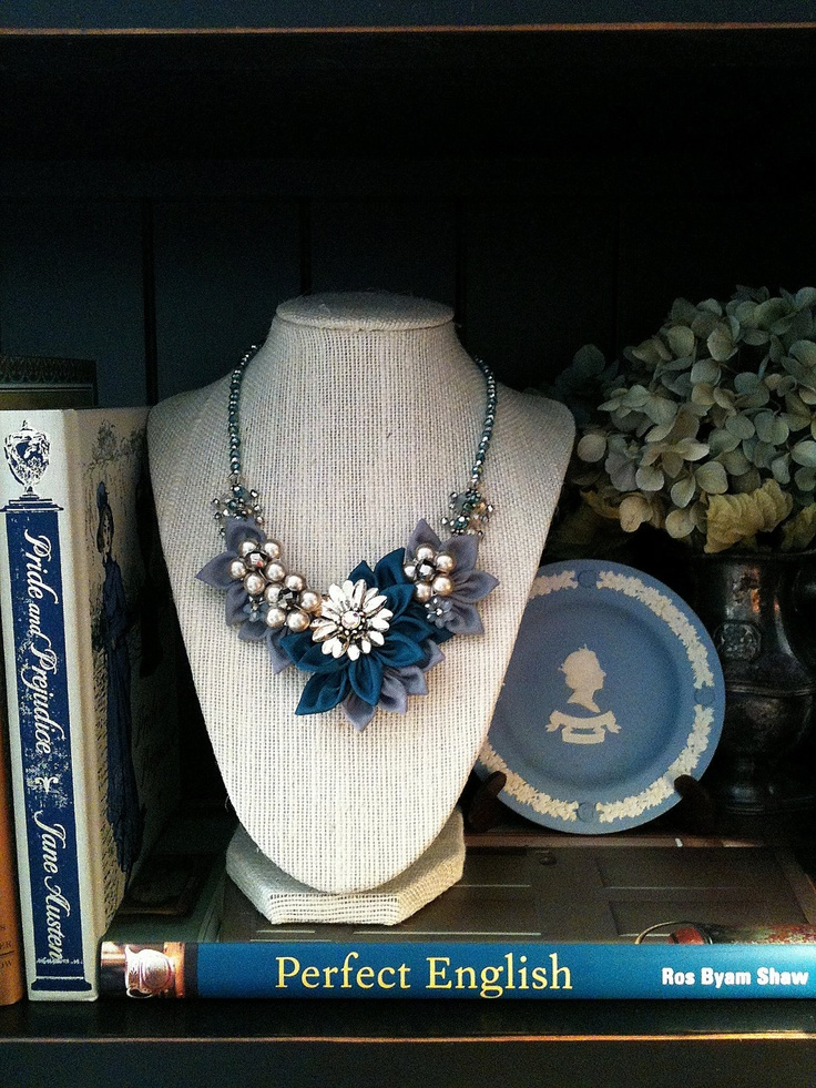Necklace by Jessica Henry of Dallas, Georgia - Teal and Gray Fabric Flower Necklace with Vintage Floral Brooch. $70.00, via Etsy.
