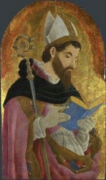 Marco Zoppo date Artista circa 1432 - circa 1478 titolo completo Un Santo Vescovo, forse Sant'Agostino data di fatto probabilmente circa 1468 Media e supporto Tempera su tavola Dimensioni 49,5 x 28,6 cm