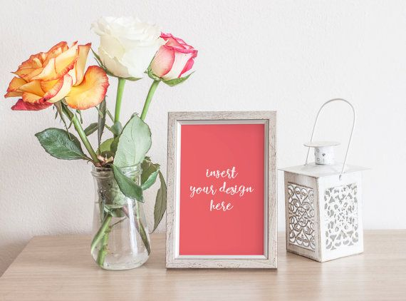 Silver/Grey Frame Mockup With Roses  High Quality by JeanBalogh