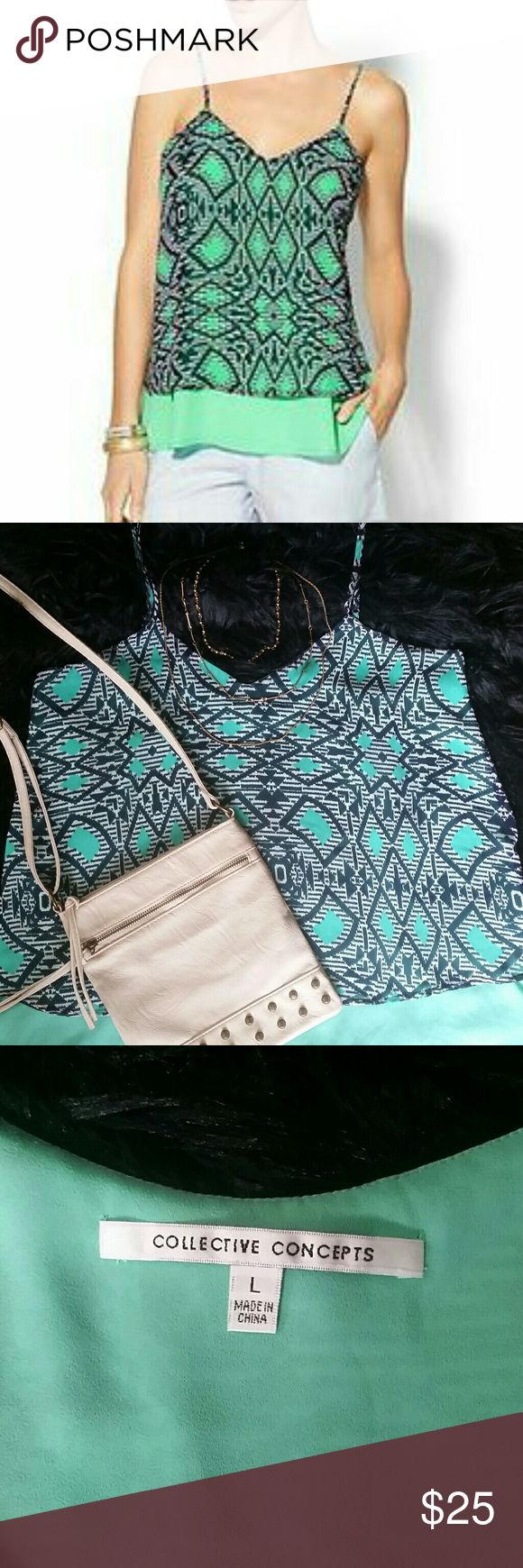 Collective Concepts tile print cami Aztec pattern with rich navy, teal and subtle mint green colors. Adjustable spaghetti straps, v-neck with fit and flare styling.  Polyester double layer, top layer is sheer. In good condition,  right strap was reinforced with navy thread. Collective Concepts Tops Tank Tops