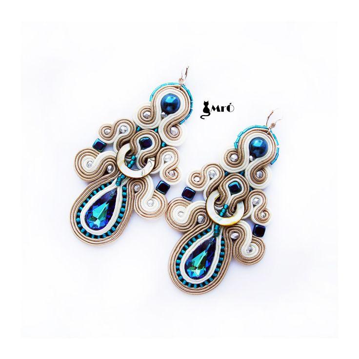 Louise beautiful big soutache earrings whit por MrOsOutache