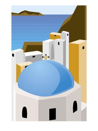 #Santorini, #Greece #Premium #Poster