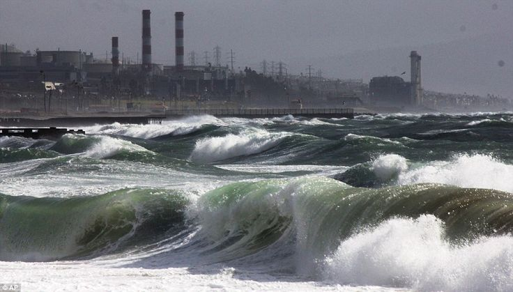 The storm churned up high surf along west and northwest-facing beaches, off the Los Angeles community of Playa del Rey