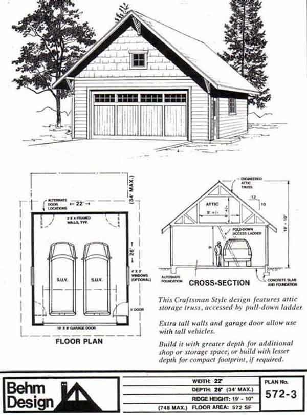 Craftsman Style Two Car Garage with Attic Truss Roof Plan 572-3 22u0027 x  sc 1 st  Pinterest & 317 best Garage Plans By Behm Design - PDF Plans images on Pinterest ...