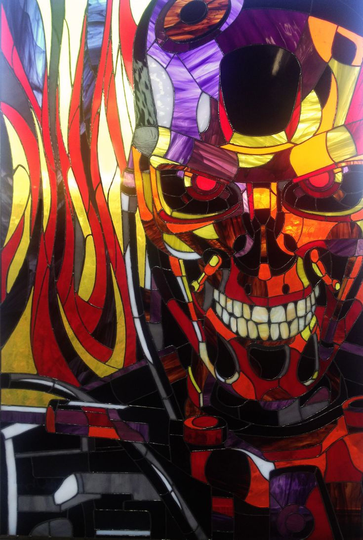Terminator T-800 by TheStainedGlassCo on Etsy