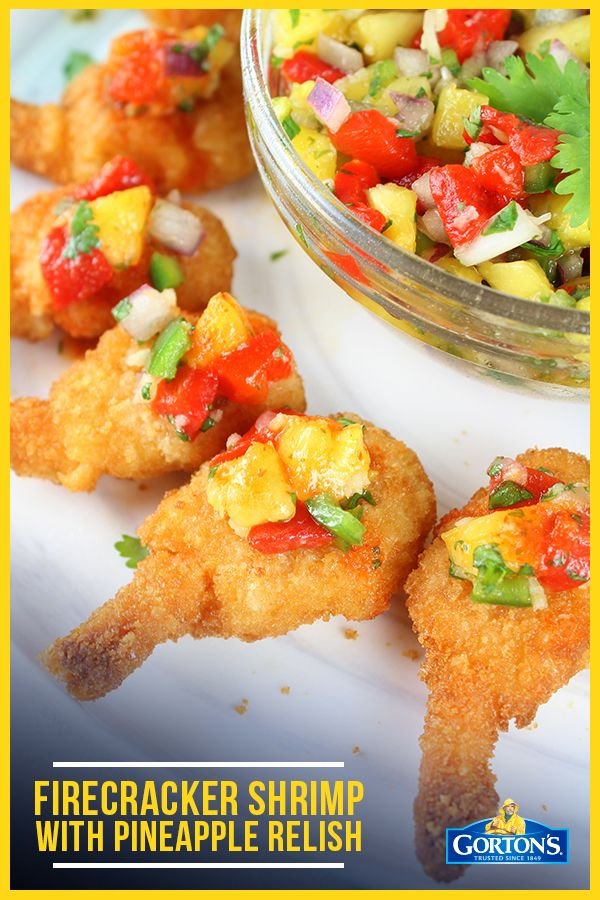 Firecracker Shrimp With Pineapple Relish: Check out this appetizer via @holly_tasteandsee that works well for game day. Football and good eats are the best possible combination. Find the quick and easy recipe here: https://tasteandsee.com/firecracker-shrimp/