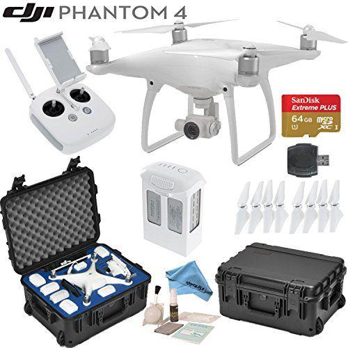 DJI Phantom 4 Quadcopter w/ eDigitalUSA Bundle: Includes Intelligent Flight Battery, SanDisk 64GB MicroSD Card, Go Professional Wheeled Carrying Case and more...