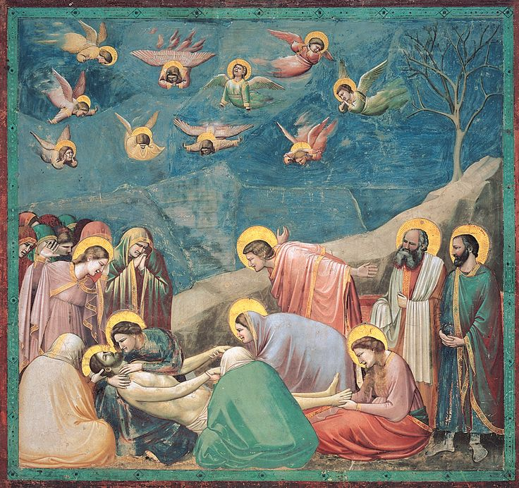 One of Giotto's 38 frescoes in the Scrovegni is Lamentation – mourning the death of Jesus Christ. What was especially striking in the Middle Ages is that Giotto broke away from his contemporary way of portraying anatomically accurate human bodies. Instead of displaying such factual acuity, Giotto's works are appealing to human emotions. The smooth combination of pastel colors and rich facial expressions are essential in creating that sensation.