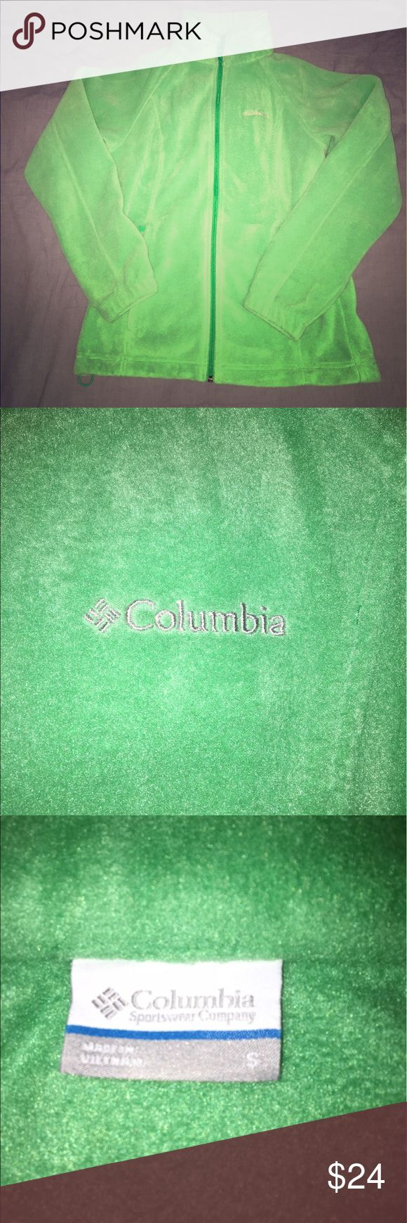 Colombia women's Benton springs fleece jacket This Columbia sportswear company fleece jacket is size small and is true to fit. I wore it once. It is in excellent condition - no stains or rips! One would think it is new. The color is one of a kind and very versatile. The comfortable fleece provides insulation while still being stylish. The jacket has an active slim fit so is very flattering. There are two zippered hand pockets. It is 100% polyester. Columbia Jackets & Coats
