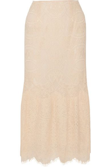 Jonathan Simkhai - Ruffled Corded Lace Midi Skirt - Peach - US10