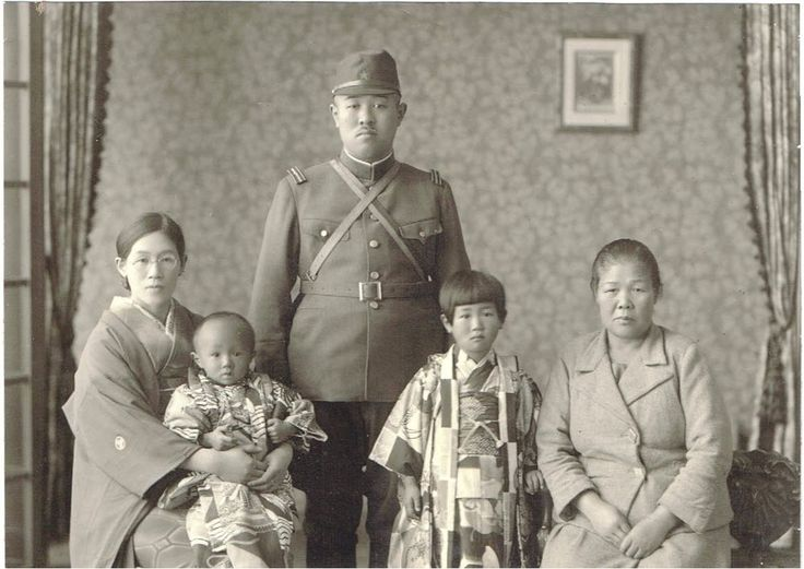 World War II ORIGINAL Photograph of Japanese Imperial Army Soldier and Family