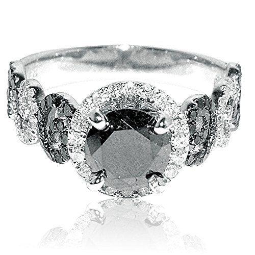 2ct Diamond Ring 1ct Black Diamond Solitaire With Black and White Side Diamonds White Gold by Rings-MidwestJewellery.com http://blackdiamondgemstone.com/jewelry/wedding-anniversary/engagement-rings/2ct-diamond-ring-1ct-black-diamond-solitaire-with-black-and-white-side-diamonds-white-gold-com/