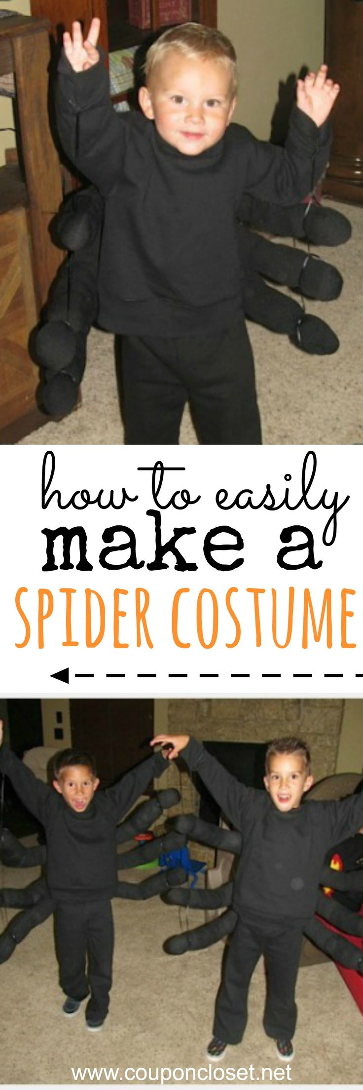 Easy homemade Halloween costumes for kids - how to make a spider costume. No sewing needed!