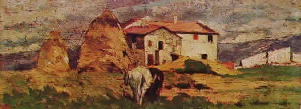 GIOVANNI FATTORI-Case nelle campagne livornesi cm. 11 x 28 Milano collezione Junker