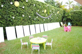 Kids painting party.  Use water based paints.  Follow this with a Baloon Pinata game (also pinned) and hose the kids down before they come back inside.  Great way to keep the mess outside.