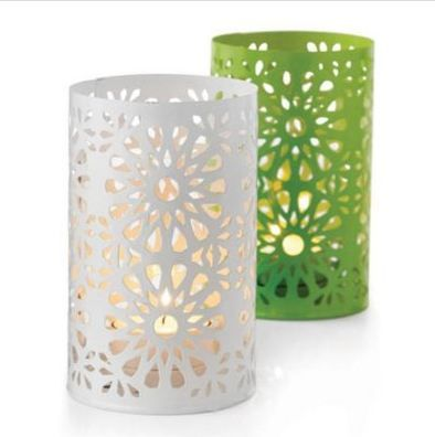 These candle holders with cutout designs would be great for the patio or living room. Calming and stylish!