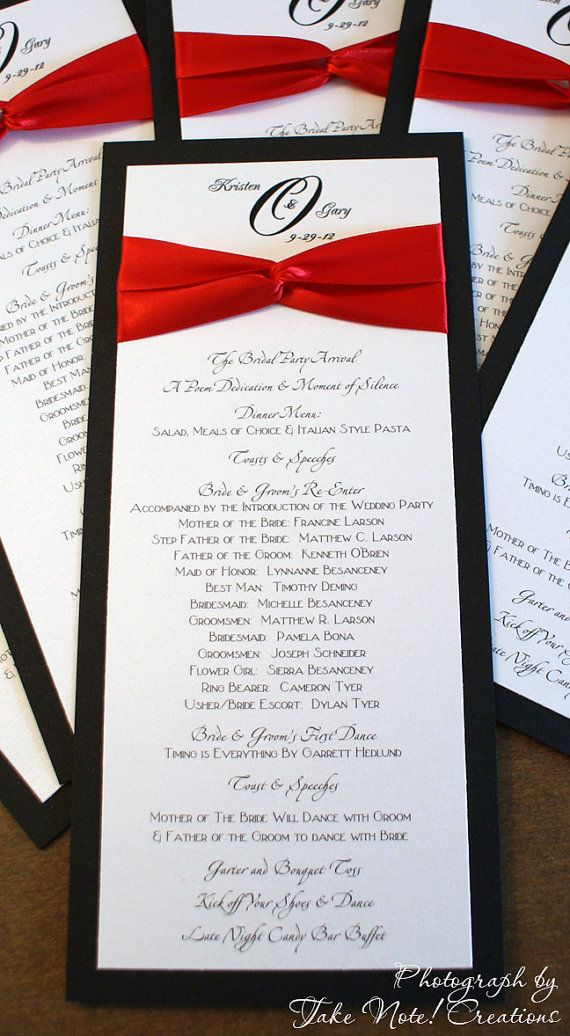 how to make wedding invitation card in microsoft word007%0A Wedding Menu or Program Cards by TakeNoteCreations on Etsy