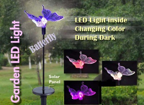 """Solar Garden LED Light Butterfly by Garden Sun Light. $15.99. Mounting: stake in soil. Power: solar power, 1 AA NiMh battery (included). Dimensions: 4""""L x 6.5""""W x 1.25""""H. Construction: metal, plastic. Stake Dimensions: 30""""H. This amazing light emits from an ever changing LED, which passes through a series of colors from green to blue to red. Between each solid color is a bold array of color combinations. This item easily mounts into the ground with the included stake, and ..."""