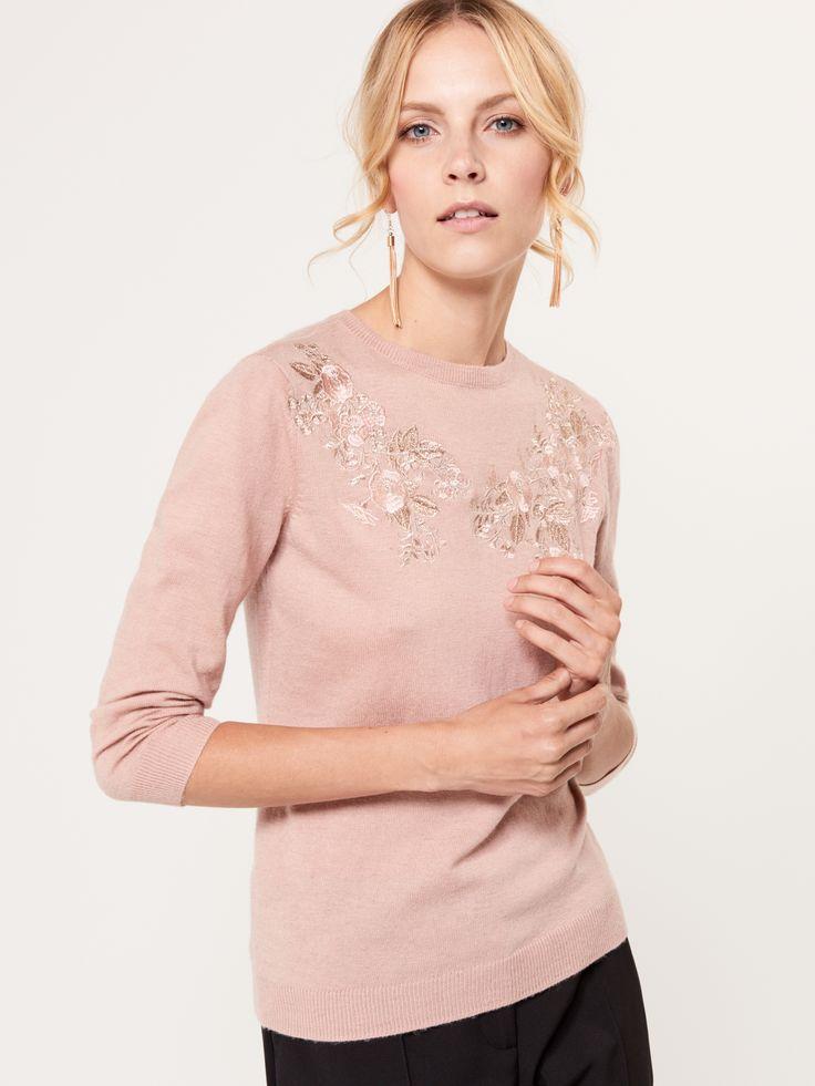 Lekki sweter z haftem, SWETRY, BLUZY, rÓŻowy, MOHITO