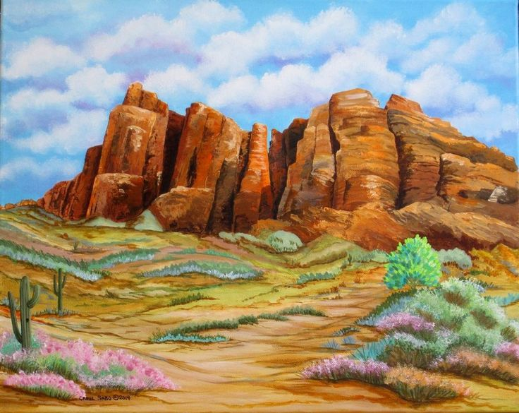 Superstition Mountain AZ-Orig. painting by the artist #texture #famous #Realism  #Realism