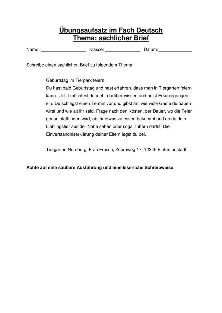 Sachlicher Brief Themenvorgabe Fur Ubungsaufsatz Unterrichtsmaterial Im Fach Deutsch In 2020 Aufsatz Briefe Schreiben Brief