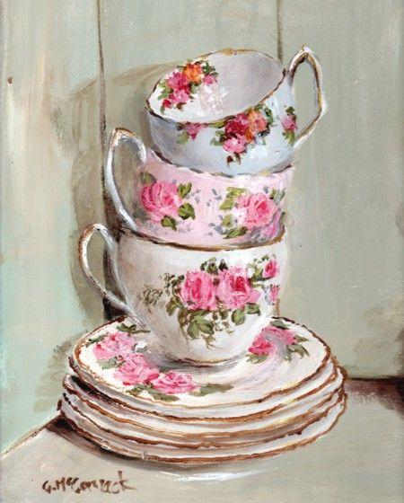 Готовы печать с рамкой - 3 укладываются чашки чая - Почтовая входит всему миру