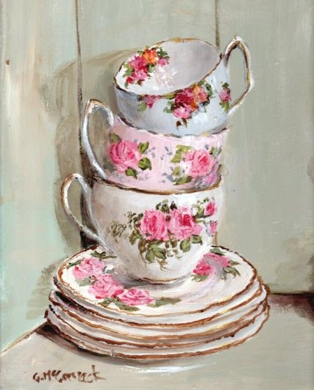 "Ready to Frame Print - 3 stacked tea cups - Postage is included Worldwide  Measuring 20 x 25.5cm (8 x 10"") approx.  Taken from a section of the  Original ""Vintage China in a Cupboard"" Painting   ""3 Stacked Tea Cups""  by Gail McCormack"