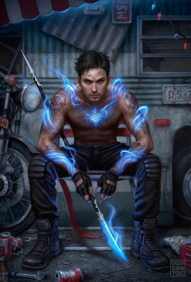 Cover of Trailer Park Fae by Lilith Saintcrow. Art by Daniel Dos Santos. Model is Mark Scheff. I wish I could get him to model for Stone!