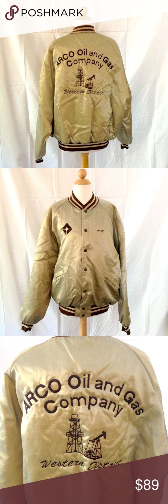 "RARE ARCO Oil & Gas Company Varsity Custom Jacket This is the only ARCO jacket I've ever come across. Just a badass jacket all around. A bit wrinkled. Found one tiny spot near the bottom button. Stitched name is ""Gary"". Size XL King Louie Jackets & Coats Bomber & Varsity"