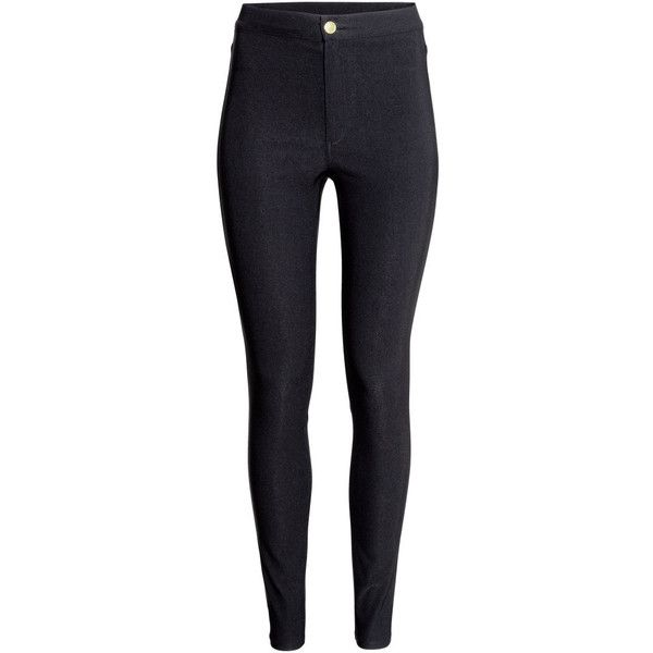 H&M Trousers High waist found on Polyvore featuring pants, jeans, bottoms, pants/leggings, black, highwaisted pants, high rise pants, highwaist pants, h&m pants and high waisted black pants