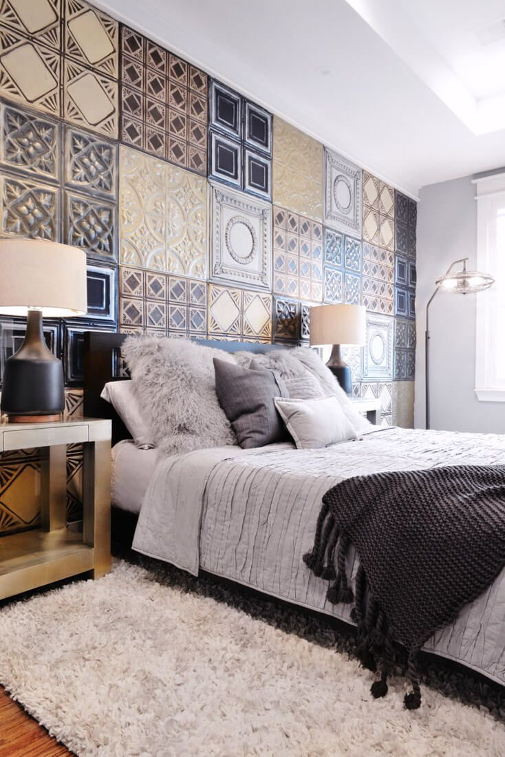 Tin Ceiling Patchwork On Accent Wall | Midtown Bachelor   Contour Interior  Design