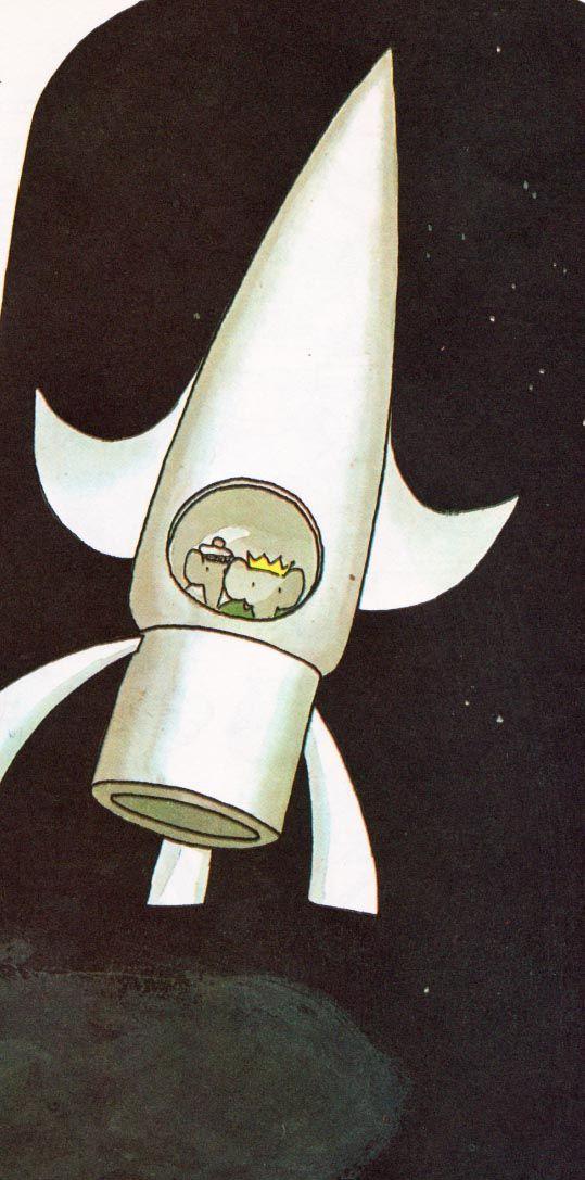 Babar Visits Another Planet   Laurent De Brunhoff ~ Random House, 1972