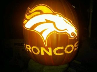 Denver Broncos pumpkin. Id use a fake one so it can be kept.