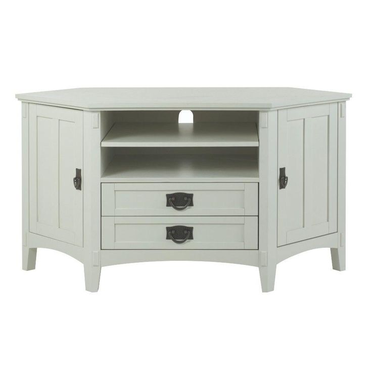 Home Decorators Collection 48 In W Artisan 2 Drawer Corner Tv Stand In White