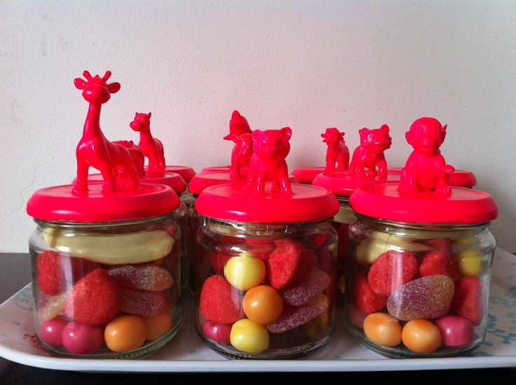 purchase jars at Dollar Store . . . . glue plastic animals to lids and spray paint for party favor jars