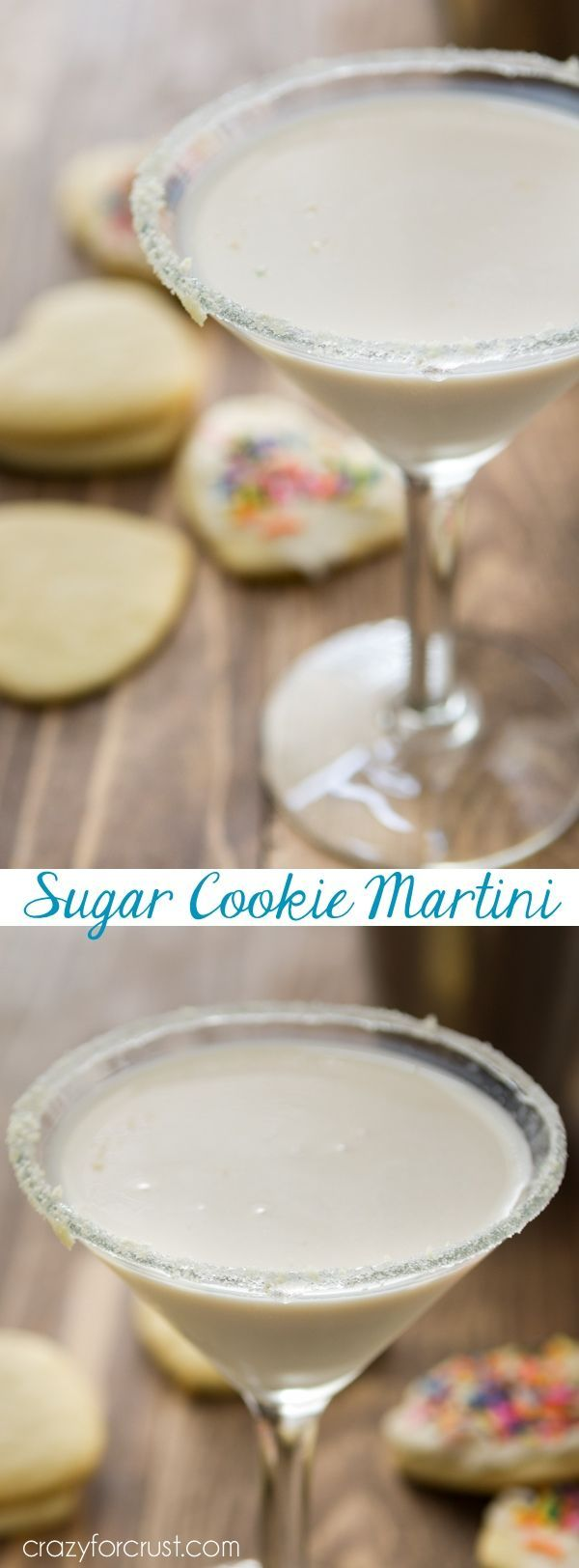 This Sugar Cookie Martini is the perfect signature dessert cocktail for any party. Only 3 ingredients and it tastes like a sugar cookie! -Made this but used snickerdoodle creamer because it was all I could find.