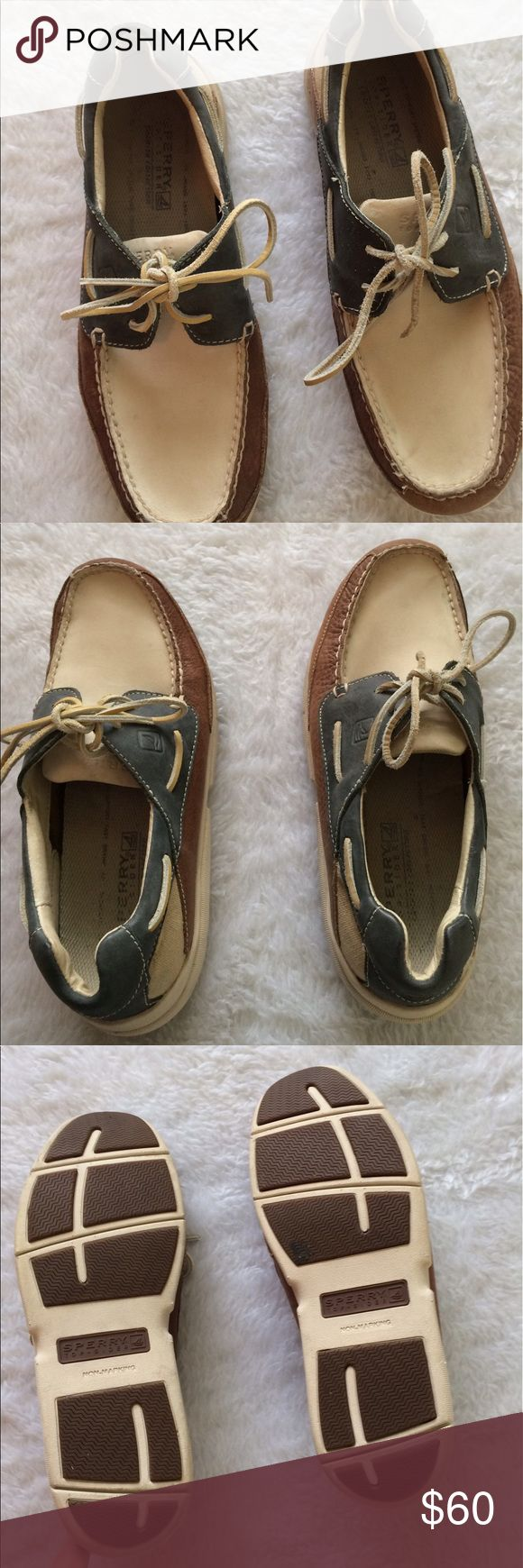 Mens Sperry  leather topsiders  tricolor 🎉Gently used some marks 🎉Tan cream & bluish grey🎉Ask questions for measurements or additional photos🎉No trades or other apps🎉Ships next business day unless noted in my closet🎉Bundle for discount Sperry Top-Sider Shoes Boat Shoes