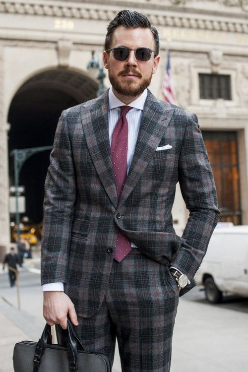 Grey wool plaid suit, plum polka dot tie | Menswear ...