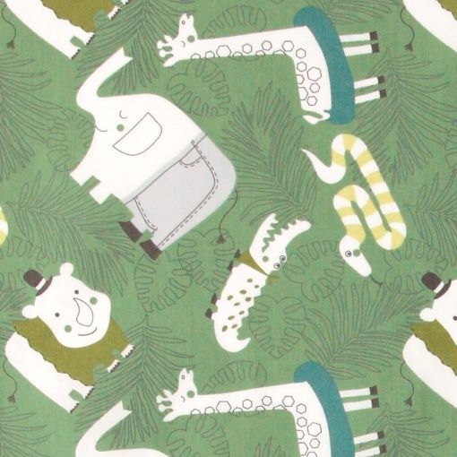 Cotton green with jungle print - Stoff & Stil