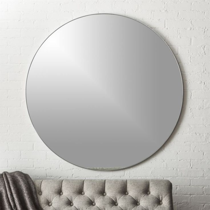 """Shop Infinity Silver Round Wall Mirror 48"""".   Extra large looking glass framed thin, trim and exact in pure extruded aluminum with brushed silver finish.  Handmade frame resists corrosion so it's perfect in the bath."""