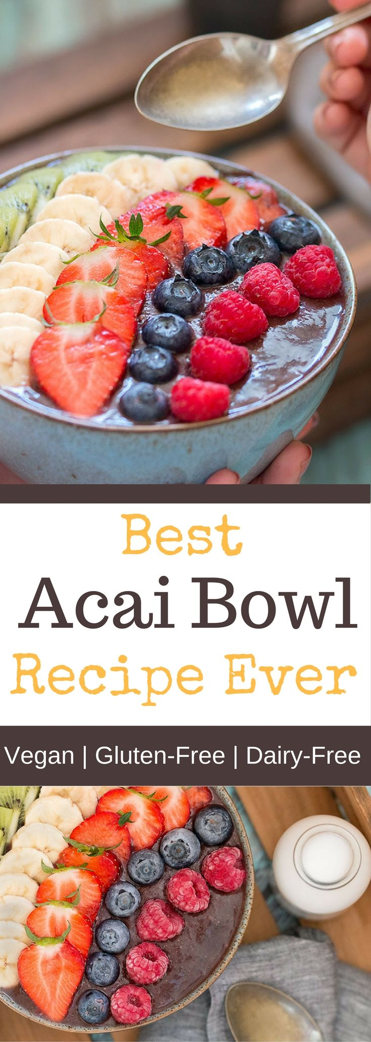 Best Acai Bowl Recipe EverThis delicious acai bowl is the perfect way to start your day. It will provide you with clean energy for the day and is so easy to make. Best of all it's vegan, gluten-free and refined sugar-free.