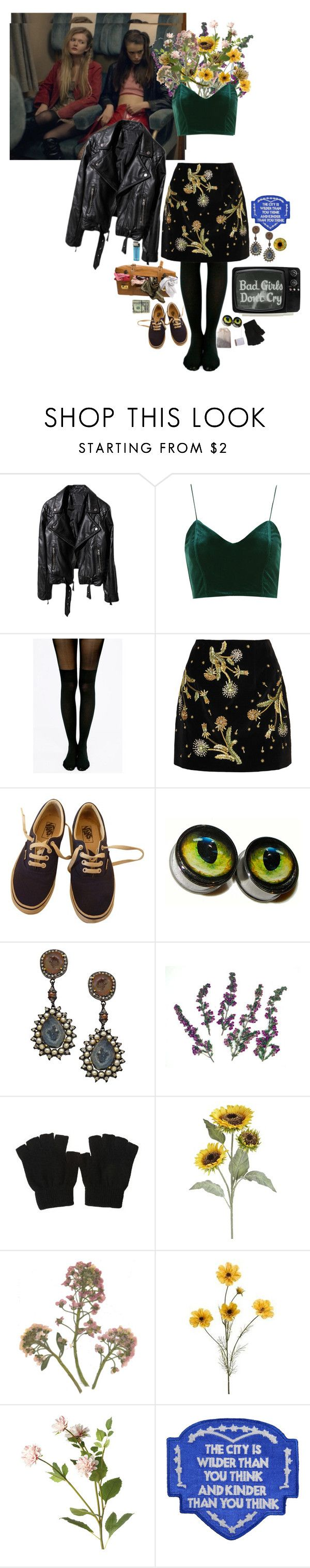 """""""part heart"""" by ghoulgirls ❤ liked on Polyvore featuring Topshop, Pretty Polly, Topshop Unique, Vans, Divya Diamond, Pier 1 Imports, OKA and Each X Other"""
